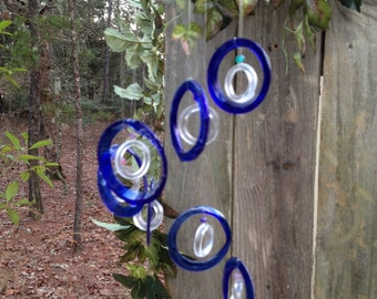 blue, clear, GLASS WINDCHIMES- RECYCLED bottles,  wind chime, garden decor, wind chimes,   musical, home decor, mobile