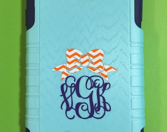 Clemson Inspired Chevron Bow Cell Phone Monogram Decal FREE SHIPPING
