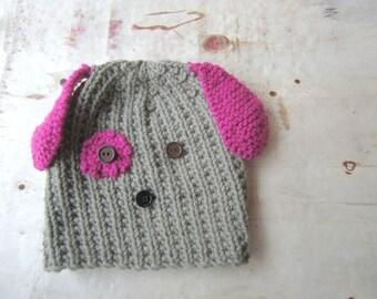 Knit Dog Hat Kids Animal Benie Girls Accessories Children Puppy Cap Toddler Pink Fun Gifts Handmade Baby