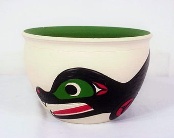 Stewart Jacobs Seal Aboriginal Bowl, Capilano Reservation, BC, Nov. 90, Squamish Nation, Free Spirit Pottery