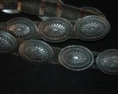 Sweet Vintage Navajo Stamped Heavy Sterling Silver Concho Belt 304 Grams