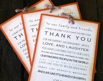Wedding Tag, Thank you tag, Favor Tag, Vintage Tag, Table decoration, Burnt Orange, Rustic Tag
