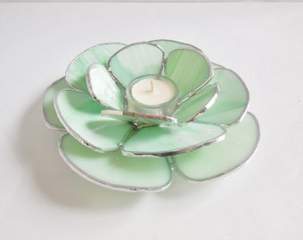 Mint Green Candle Holder. Waterlily. Stained Glass Home Decor.