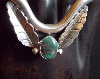 V Shaped Turquoise and Silver Bracelet