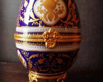 SALE   Large Lamoges France Egg Porcelain Box