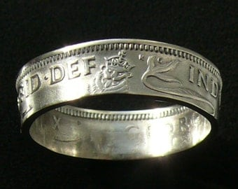 Silver Coin Ring 1937 United Kingdom 1 Shilling - Ring Size 8 1/2 and Double Sided
