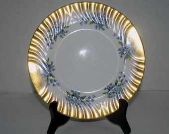 Queen Anne dessert plate blue and gold  8 inch  plate    vintage china