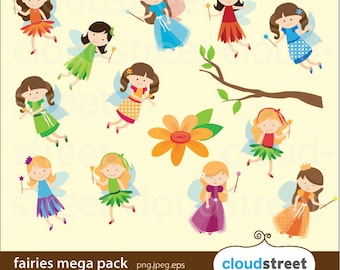 20% OFF Fairies Clip Art Mega Pack for personal and commercial use (fairy clipart) vector graphics