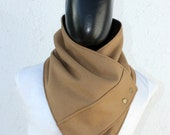 Mens cowl scarf. Unisex scarf. Men and women cowl. Camel wool with metalic snaps . Trendy, modern, chunky  and cozy.