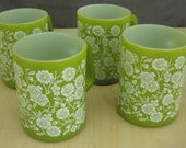 Green Floral Federal Glass Coffee Mugs