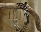Five sterling silver skinny bangles, hammered, hand forged, unique, rustic