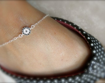 CZ evil eye anklet bracelet on sterling silver chain