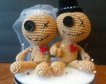 Voodoo Doll Couple Wedding Cake Topper - Available in Your Choice of Colors - Maris Gras - New Orleans
