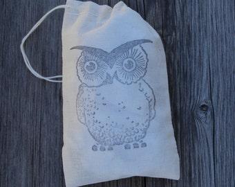 Set of 10 Hand stamped Owl Muslin Gift Favor Bags 100% organic made in america
