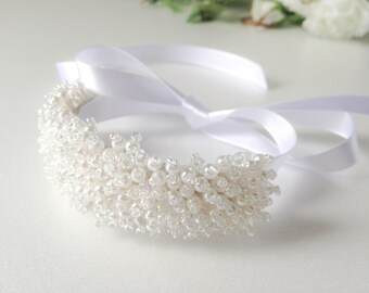 Pearl beaded Cuff Bracelet with Satin Ribbon,Wedding,bridal,tie