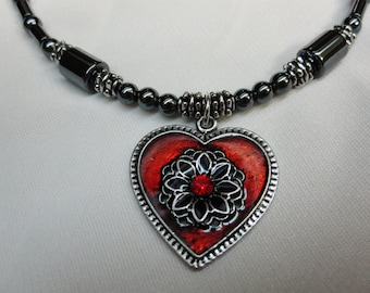 Stunning Red Heart Pendant 18 Inch Beaded Hematite Necklace on Hematite and Silver Beads with Sturdy Magnetic Clasp