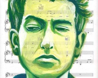 Bob Dylan 8 x 10 PRINT - acrylic on sheet music