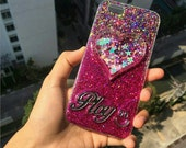 Personalised shake-able heart Iphone 6 /6 plus,  iPhone 5/5s, iPhone  4/4s, Samsung galaxy note 2/3/5, s3/s4/s5 glitter case with your name.
