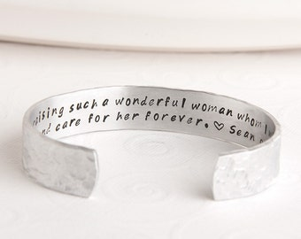 Mother of the Bride Bracelet - Groom to Mother in Law Gift - Mother in Law Custom Bracelet - Thank You Gift to Parents