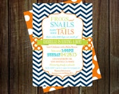 Boys Baby Shower Invitations frogs & snails, navy blue orange and aqua blue