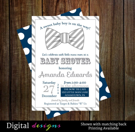 modern bow tie baby shower invitations boys bowtie invitations gray