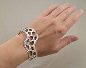 Zigzag Cuff Bracelet - Sterling Silver - Lost Wax Cast - OOAK