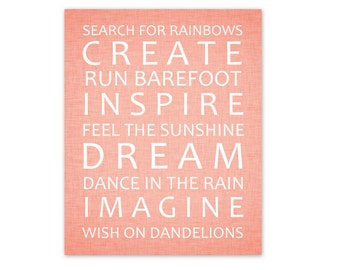 Baby Girl Nursery Art Print 8x10  Dream Imagine Create Dance Sunshine - printable download Wall Decor