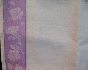 Lilac Border Vintage  White Linen Show Towel Colorful Decorative SALE