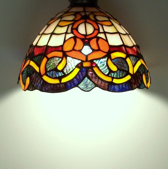 stained glass lampshade for a standing or hanging lamp. Black Bedroom Furniture Sets. Home Design Ideas