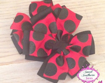Red and Black Pinwheel Bow Set - Piggy Bows