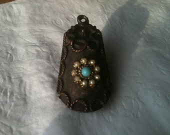 Vintage Signed ART Pendant Necklace Locket Turquoise Pearl Copper Necklace