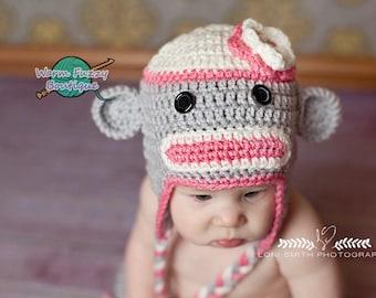Instant Download PDF Crochet Pattern - No. 61 Mr. & Mrs. Sock Monkey Hat - 6 Sizes - Baby Newborn to Adult