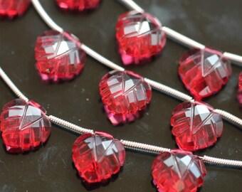 Ruby Red Quartz Carved Heart Shaped Leaf Briolettes, 12 mm, 1 pair GM2236FL/12/2