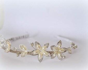 SALE 40%OFF Bridal Headband with pearls, Wedding Crown Headpiece, Branch Tiara, Crystal Flowers Vine Silver Leaf