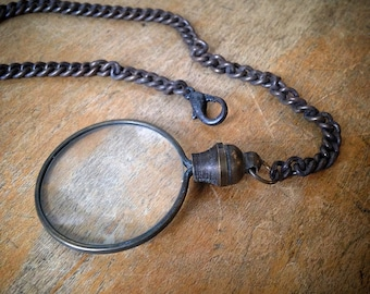 1 - SMALL Antique Bronze Monocle Magnifying Glass Pendant Charm & Chain Vintage Style Jewelry Supplies (BA085)