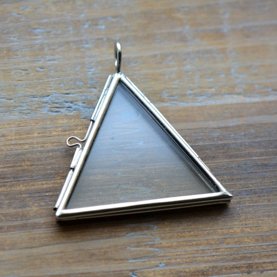 silver glass frame pendant triangle shape double sided glass hinged locket picture frame pendant charm jewelry pendant bd014 from ingredientsforlovely on - Double Sided Glass Frame