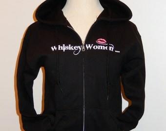 Got Whiskeys -Don't Run Dry- Black Zip-Up Sweatshirts  Womens -Hand Screen Print-Trademarked