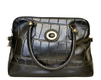 Vintage Alligator Black Leather Handbag Vtg Black Leather Purse