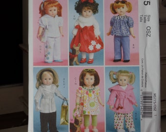 McCalls 5775 --  18 Inch Doll Clothes Winter Wardrobe sewing pattern