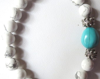 White Howlite, Sterling Silver and Genuine Turquoise Unisex Stretch Bracelet