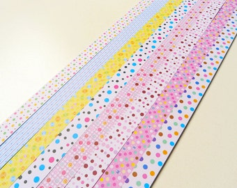Cute Polka Dots Mixed Origami Lucky Star Paper Strips Gift Folding DIY - Pack of 160 Strips