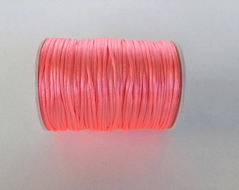 candy Pink Rattail Cord, cola de rata,  Knotting cord, 2.5 mm Satin cord, Beading cord, cord for bracelet, 10 meters (11 yards)