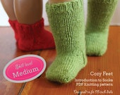 Cozy Feet PDF knitting pattern for 18 inch dolls like American Girl - INSTANT DOWNLOAD