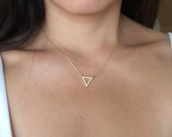 Gold Triangle Pave Crystal Necklace also in Silver