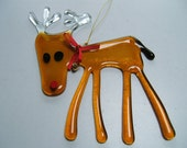 Rudolph the Red Nosed Reindeer - Christmas Holidays Decoration in Fused Glass