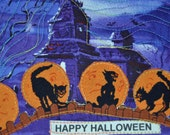 Spooky Cats on a Fence Postcard