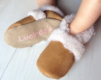 Sheepskin Slippers personalized for babies and children