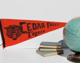 Vintage Pennant Cedar Falls Tigers, School Banner Sports Memorabilia Red, Tiger