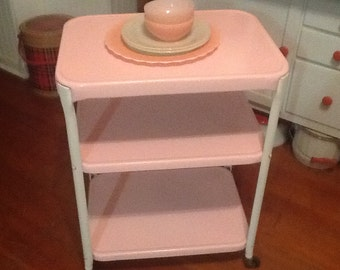 Kitchen Cart Pink White Vintage Metal