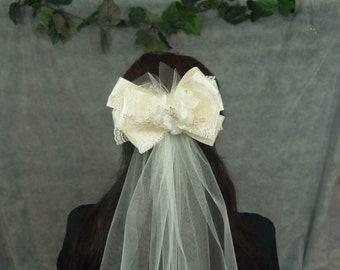 Brides Wedding Ivory Retro Veil short style with big bow unique style, tulle ribbons, flowers, lace